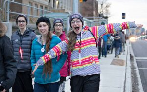Girls walk on King Street during the Coldest Night of the Year event
