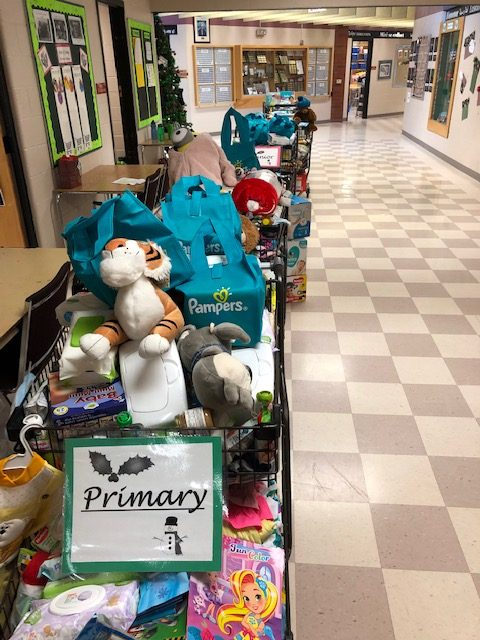donations in hallway at Laurelwood PS