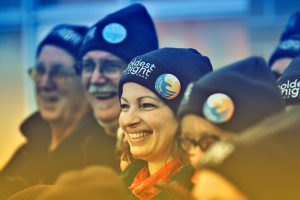 Close-up of people wearing Coldest Night of the Year toques