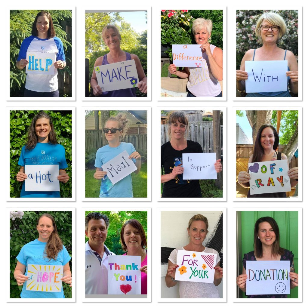 photo grid of smiling women holding signs